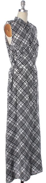 EQUIPMENT White Black Plaid Silk Belted Side Slits Maxi Shirt Dress