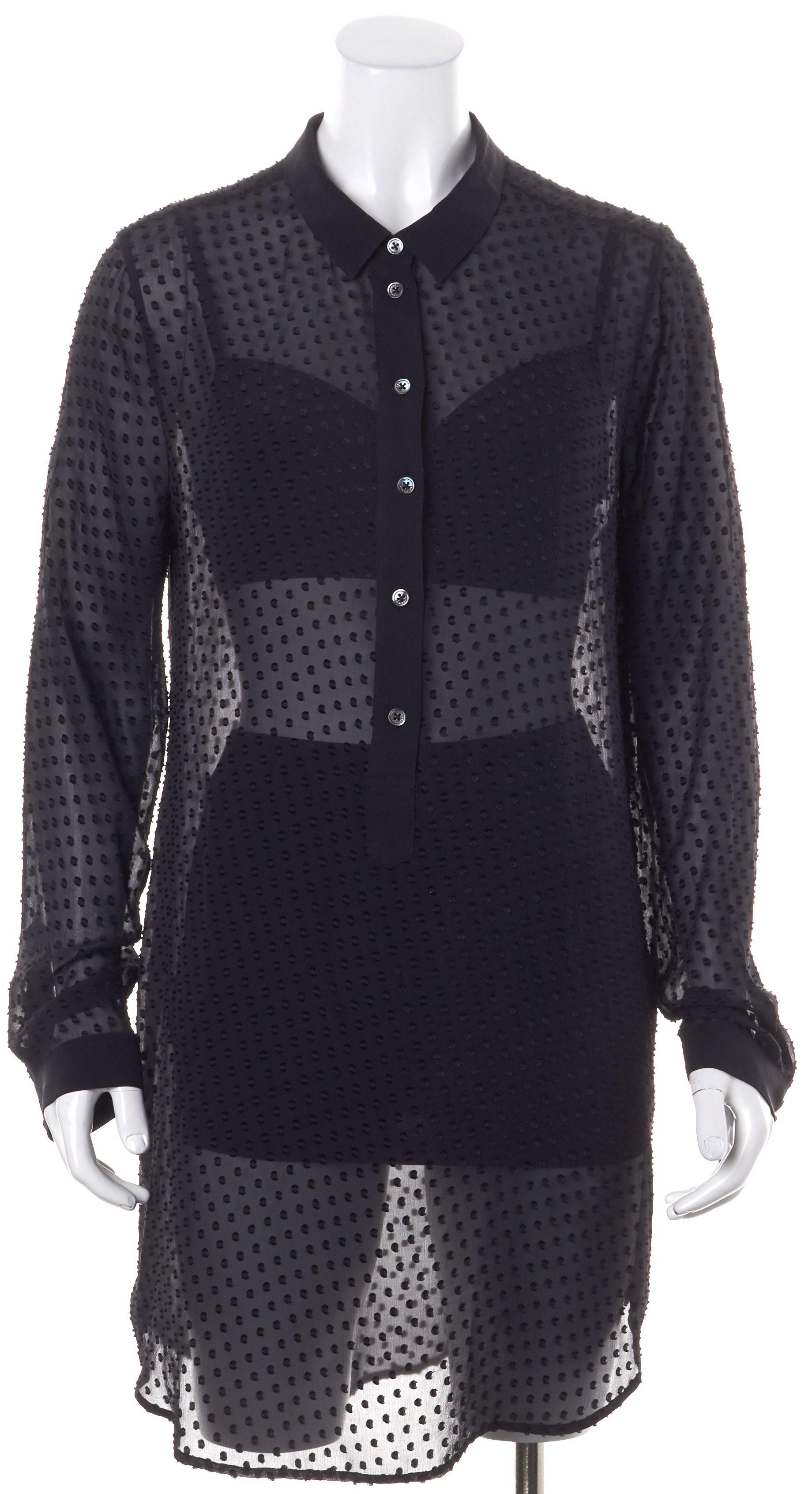 Equipment Black Sheer Swiss Dot Embroidered Mini Shirt Dress ...