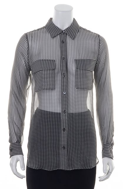 EQUIPMENT Black White Houndstooth Printed Sheer Silk Button Down Blouse Top