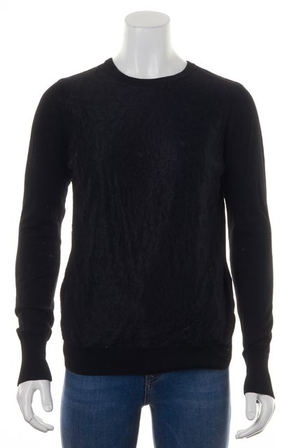 EQUIPMENT Black Floral Lace Front Wool Long Sleeve Crewneck Sweater