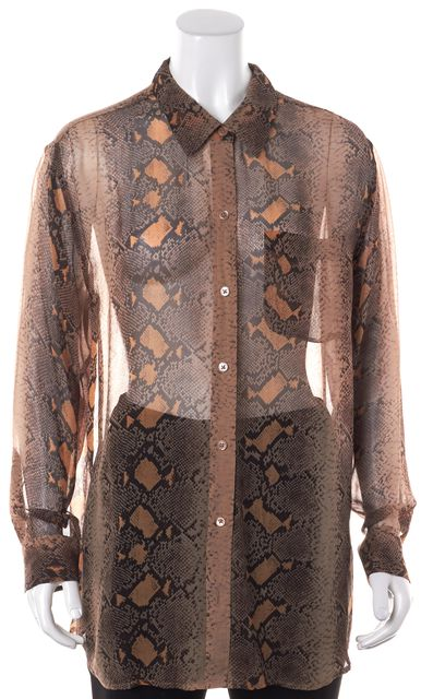 EQUIPMENT Brown Beige Reptile Printed Sheer Silk Long Button Down Blouse