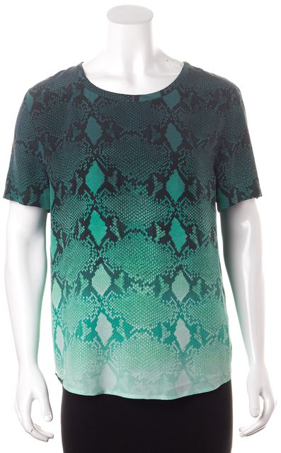EQUIPMENT Green Ombre Snake Print Relaxed Fit Silk Blouse Top