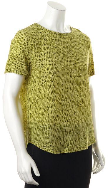EQUIPMENT Yellow Black Animal Print Silk Short Sleeve Blouse