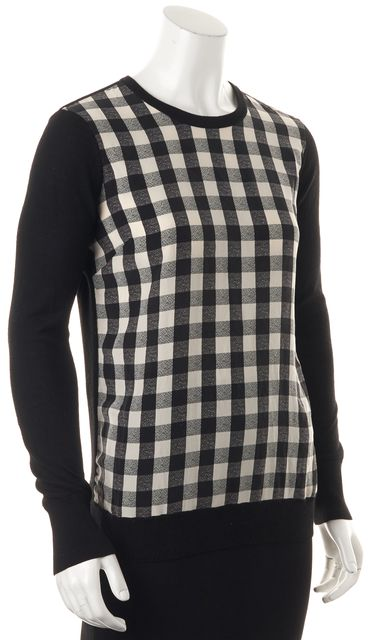 EQUIPMENT Black Ivory Checkered Silk Wool Long Sleeve Blouse Top
