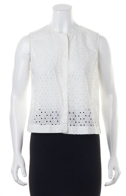 EQUIPMENT White Eyelet Button Down Top