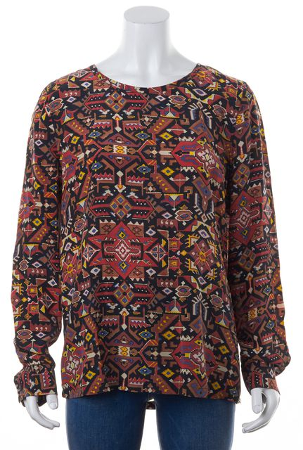 EQUIPMENT Red Black Abstract Tribal Printed Silk Long Sleeve Blouse Top