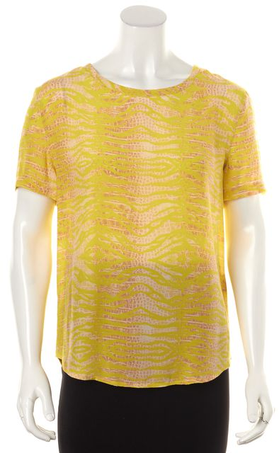 EQUIPMENT Yellow Brown Animal Print Silk Short Sleeve Blouse Top