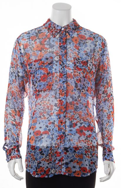 EQUIPMENT Blue Red Floral Printed Sheer Silk Button Down Blouse Top