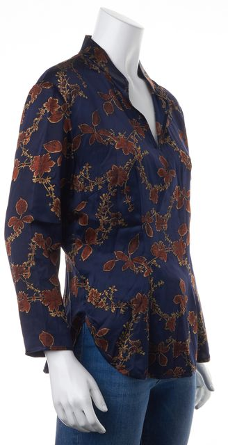 EQUIPMENT Navy Blue Red Floral Silk V-Neck Long Sleeve Blouse Top
