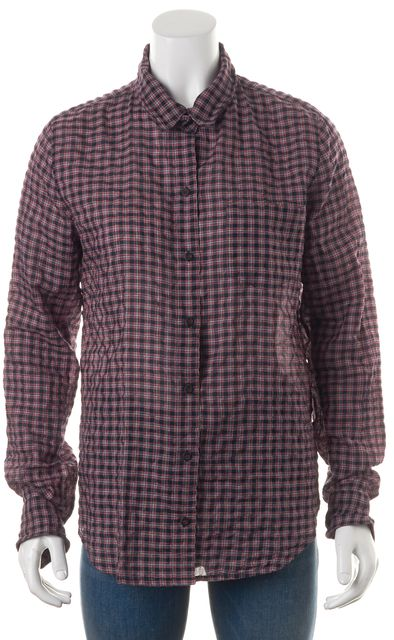 EQUIPMENT Navy Blue Red Plaid Crinkle Button Down Shirt Top