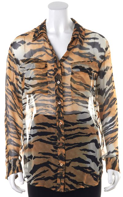EQUIPMENT Brown Tiger Printed Sheer Long Sleeve Button Down Shirt Top