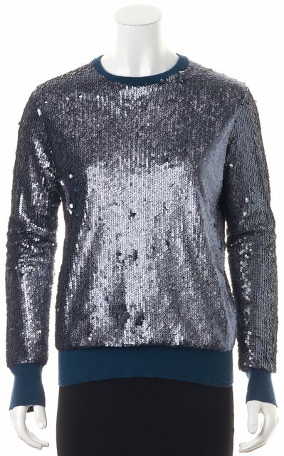 EQUIPMENT Blue Glitter Sequined Embellished Long Sleeve Crewneck Knit Top