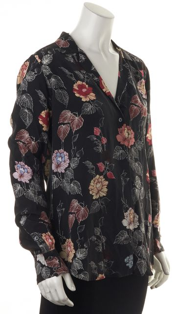 EQUIPMENT Black Silk Floral Print Button Down Blouse