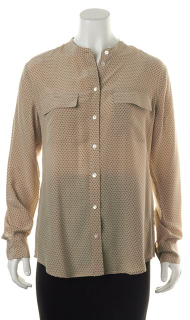 EQUIPMENT Beige Geometric Printed Silk Long Sleeve Button Down Blouse