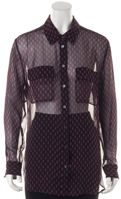 EQUIPMENT Black Pink Floral Print Sheer Long Sleeve Button Down Blouse Top