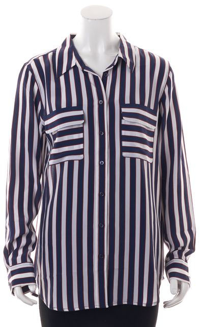 EQUIPMENT Navy Blue Red White Striped Silk Button Down Blouse Top