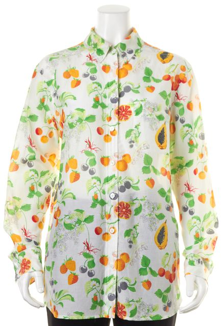 EQUIPMENT White Orange Green Fruit Print Button Down Shirt