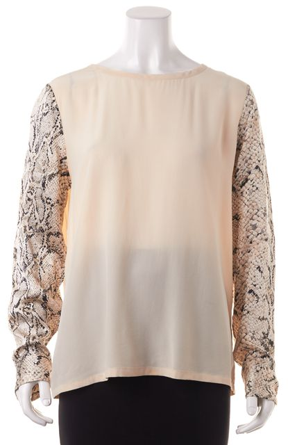 EQUIPMENT Beige Animal Print Silk Blouse Top