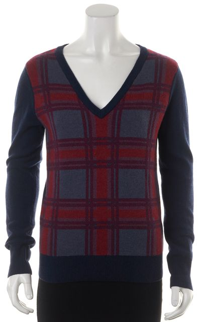 EQUIPMENT Blue Red Plaid Front Wool Long Sleeve V-Neck Sweater