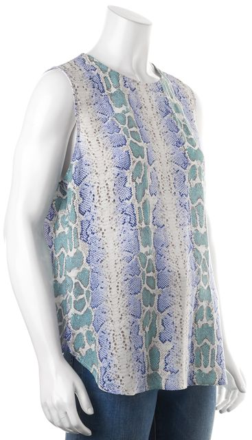 EQUIPMENT Blue Beige Green Animal Print Silk Sleeveless Blouse Top