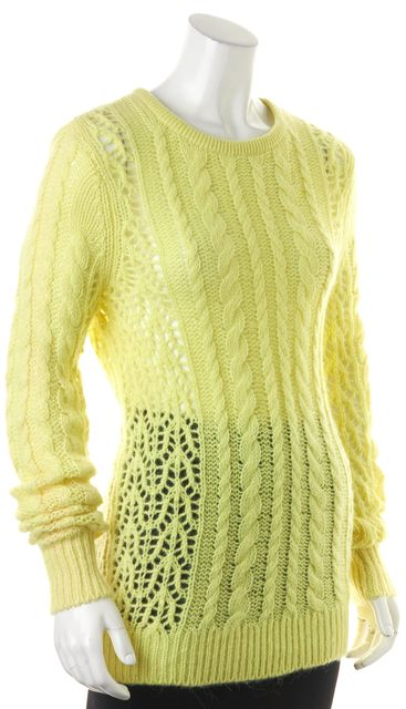 EQUIPMENT Yellow Cashmere Open Chunky Cable Knit Crewneck Sweater