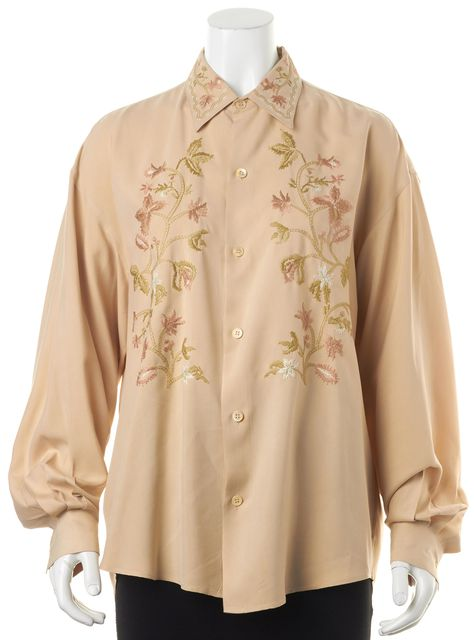 EQUIPMENT Beige Floral Embroidered Silk Long Sleeve Button Down Blouse Top