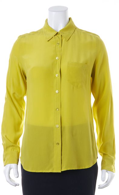 EQUIPMENT Green Silk Relaxed Button Down Shirt Blouse Top