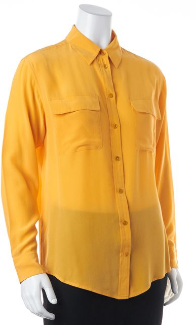 EQUIPMENT Orange Silk Relaxed Fit Button Down Blouse Top