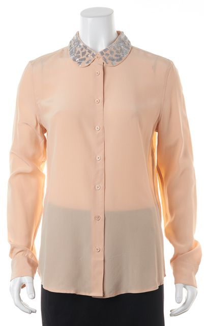 EQUIPMENT Pink Sequin Long Sleeve Button Down Silk Shirt Top