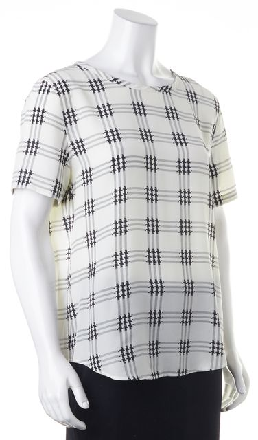 EQUIPMENT White Black Plaid Printed Silk Short Sleeve Blouse Top