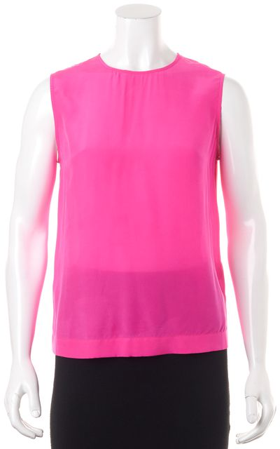 EQUIPMENT Hot Pink Silk Sleeveless Button Back Blouse Top