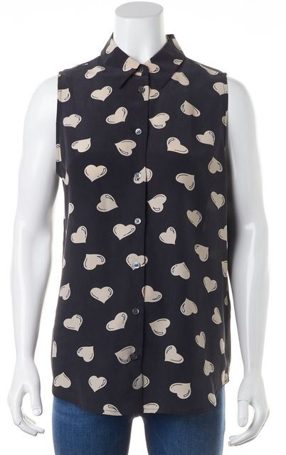 EQUIPMENT Black Beige Heart Printed Silk Sleeveless Button Down Shirt Top