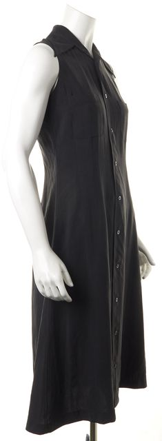 EQUIPMENT Black Button Down Silk Dress