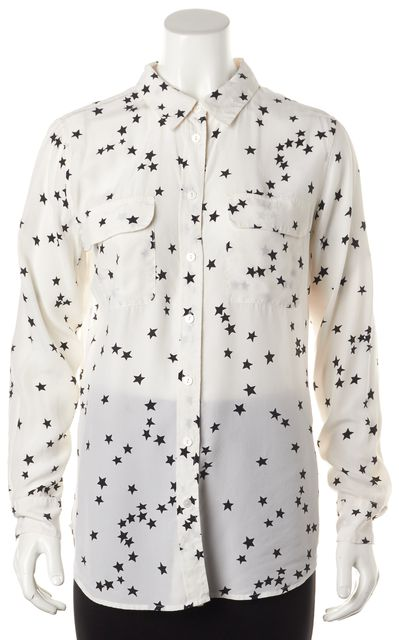 EQUIPMENT White Black Star Printed Silk Relaxed Fit Blouse