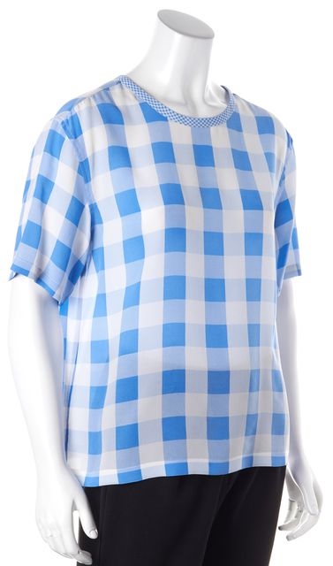 EQUIPMENT Blue White Checkered Silk Short Sleeve Blouse