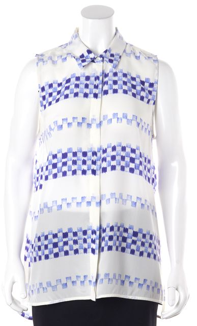 EQUIPMENT White Blue Checkered Silk Sleeveless Button Down Shirt