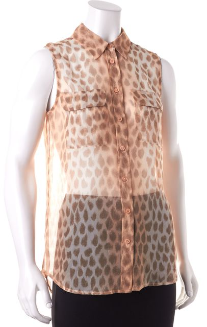 EQUIPMENT Ivory Leopard Print Silk Sleeveless Blouse