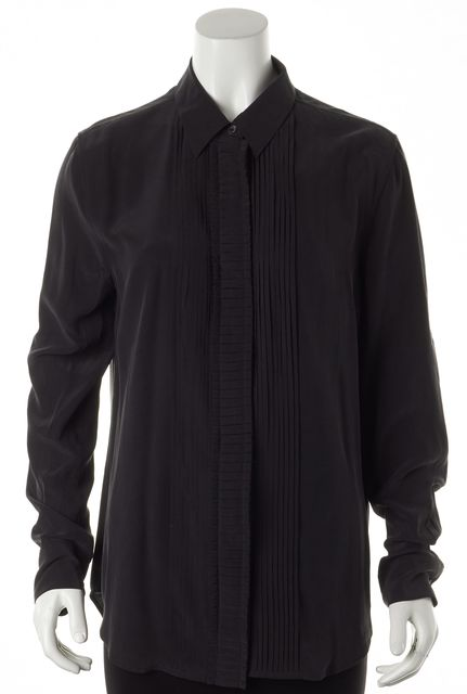 EQUIPMENT Washed Black Silk Pleated Long Sleeve Button Down Shirt