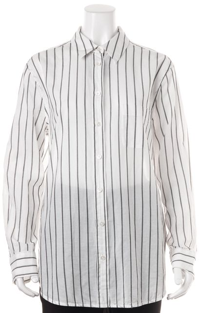 EQUIPMENT White Striped Button Down Shirt Top