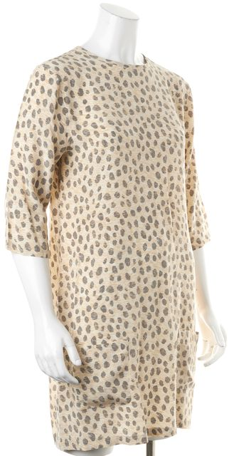 EQUIPMENT Yellow Grey Animal Print Silk Shift Dress With Front Pockets