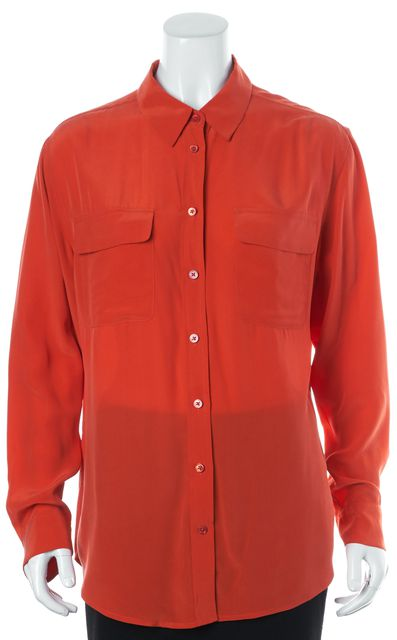 EQUIPMENT Blood Orange Silk Front Pocket Button Down Shirt Top