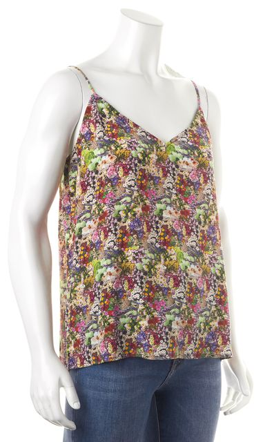 EQUIPMENT Purple Pink Green Floral Silk Spaghetti Strap Blouse Top
