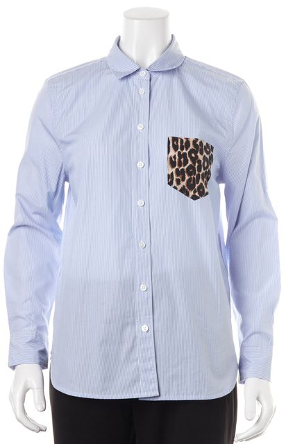 EQUIPMENT Blue Striped Animal Print Pocket Button Down Shirt Top