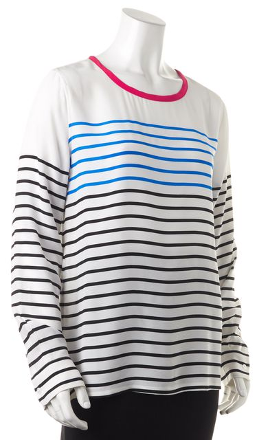 EQUIPMENT White Blue Red Striped Silk Long Sleeve Blouse Top