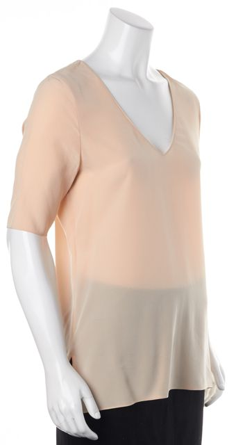 EQUIPMENT Ivory 100% Silk V-Neck Half Sleeve Blouse Top