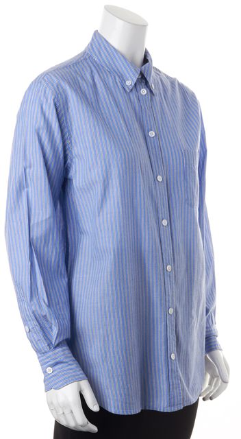 EQUIPMENT Blue White Cotton Striped Long Sleeve Button Down Shirt Top
