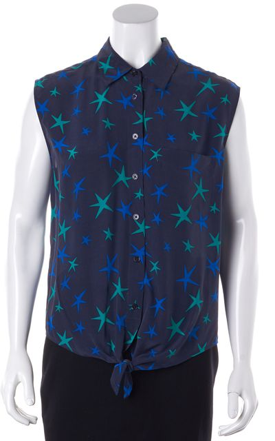 EQUIPMENT Blue Green Star Print Silk Tie-Up Front Button Down Shirt