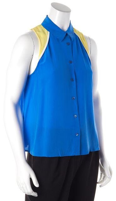 EQUIPMENT Blue Yellow White Colorblock Silk Button Down Shirt