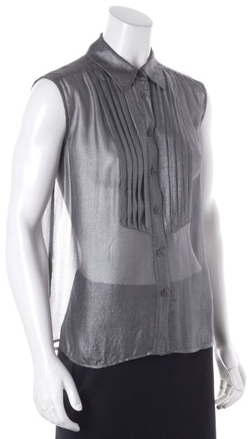 EQUIPMENT Gray Metallic Silk Blouse