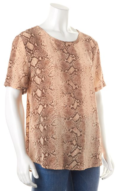 EQUIPMENT Beige Snake Print Silk Short Sleeve Blouse Top